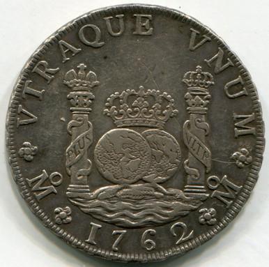 1762 MM  Mexico 8 Reales KM#105   AU