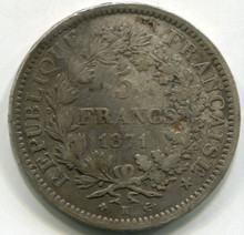 1871 K France 5 Francs KM#820.20  VF30