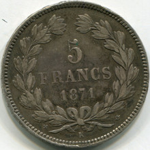 1871 France 5 Francs KM818.2 XF