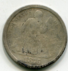 1875 S   Seated  Liberty Dime  G