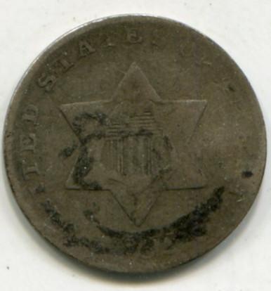 1852 Three Cent   F