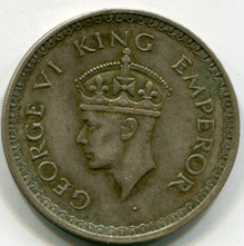1943 (Dot) India British  Rupee  KM#556  XF