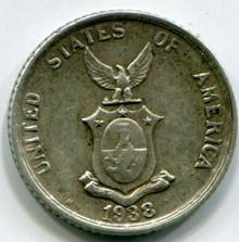 1838 Philippines  20 Centavos KM#182 VF