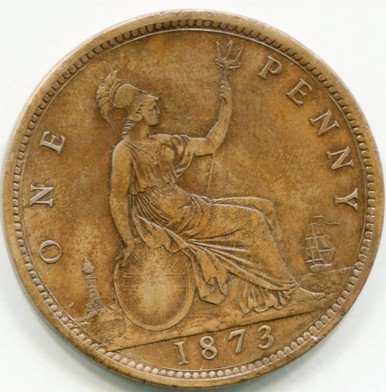 1873 Great Britain Penny KM#749.2  VF30