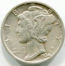 1934  Mercury Dime XF