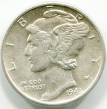 1943 D  Mercury Dime MS60