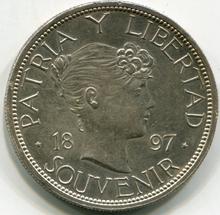 1897 Cuba Souvenir Peso Type III  AU, Polished