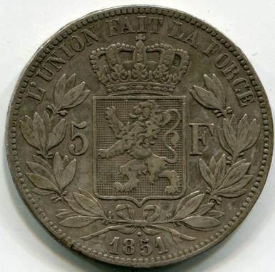 1851 Belgium 5 Francs KM17 XF