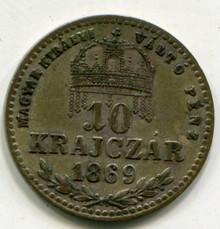 1869 KB Hungary  10 Krajczar KM#443.1  XF