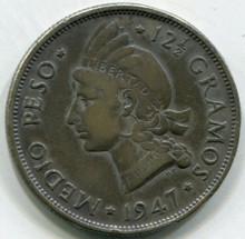 1947 Dominican Republic  Half Peso  KM#21