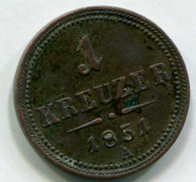 1851 A Austria Kreuzer KM#2185  XF