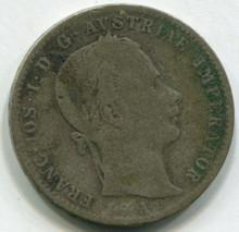 1859 A Austria 1/4 Florin  KM#2214  F