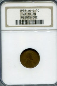 1922 No D Lincoln cent NGC VG 10 BN