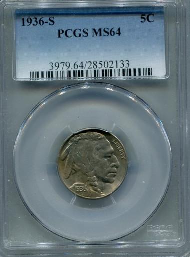 1936 S Buffalo Nickel PCGS MS64