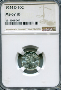 1944 D Mercury Dime NGC MS67 FB