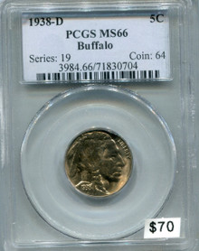 1938 D Buffalo Nickel PCGS MS66