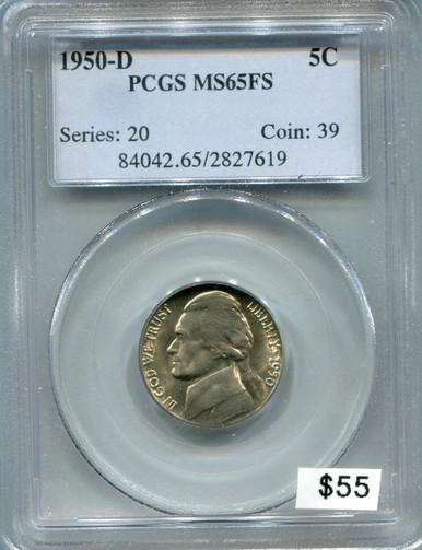 1950 D Jefferson Nickel PCGS MS65FS