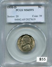 1950 D Jefferson Nickel PCGS MS65FS