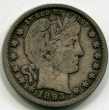 1893 Barber Quarter VF