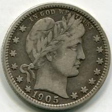 1905 O Barber Quarter  VF