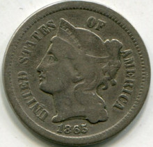 1865 Three Cents Nickel VG