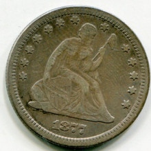 1877 Liberty Seated Quarter  Net F