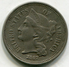 1867  Three Cents Nickel VF