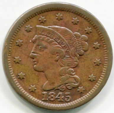 1845 Large Cent XF45