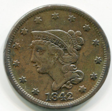 1842 Large Cent XF45