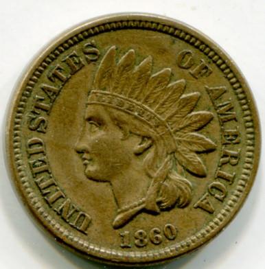 1860 Indian Head Cent AU50
