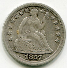 1857 Half Dime XF45