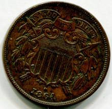 1864 Two Cents AU50
