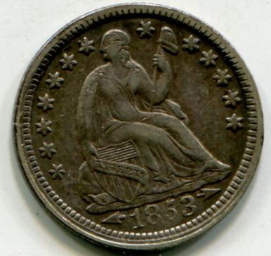 1853 Half Dime XF45 Arrows