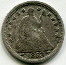 1853 Half Dime VF30 Arrows