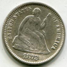 1872  Half Dime AU58