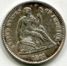 1861  Half Dime AU55 - Error