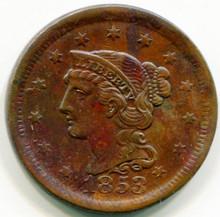 1853Large Cent AU58