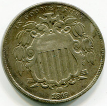 1868 Shield Nickel XF45