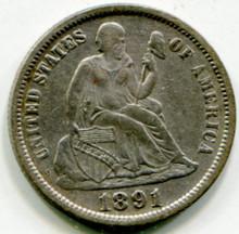 1891 Liberty Seated Dime XF