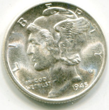1945  D Mercury Dimes MS64 FB