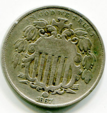 1867 Shield Nickel F   Rays