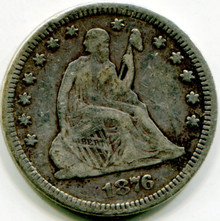 1876  Liberty Seated Quarter  Net F-12