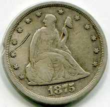 1875 S Twenty Cents  Net F