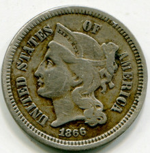 1866 Three Cents Nickel F