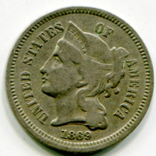 1869 Three Cents  F