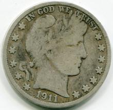 1911 S Barber Half Dollar VG10