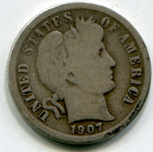1907 O Barber Dime VG