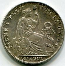1906 JF Peru 1/5 Sol  KM#205.2   MS60