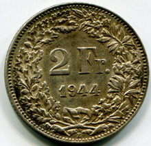 1944 Switzerland 2 Francs KM#21  AU