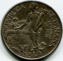 1934 Panama Balboa KM#13 AU